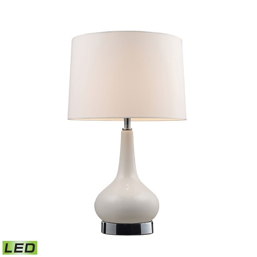 Dimond Lighting Dimond Lighting White, Chrome LED Table Lamp with Drum Shade 3925/1-LED