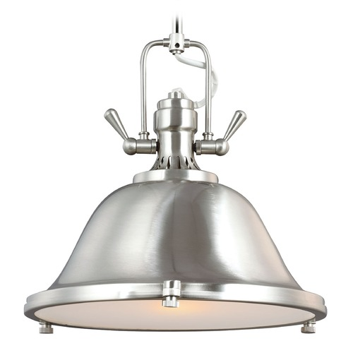 Sea Gull Lighting Sea Gull Lighting Stone Street Brushed Nickel Pendant Light with Bowl / Dome Shade 6514401-962