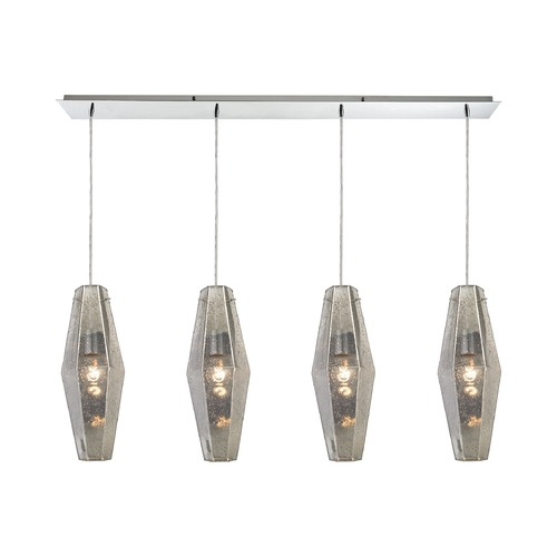 Elk Lighting Elk Lighting Pelham Polished Chrome Multi-Light Pendant with Hexagon Shade 31216/4LP
