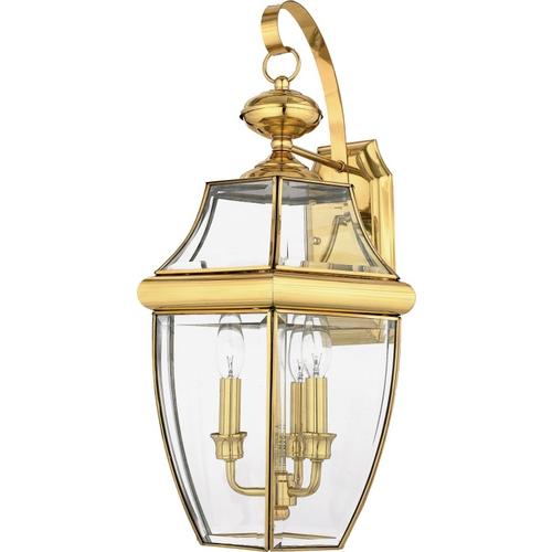 Quoizel Lighting Outdoor Wall Light with Clear Glass in Polished Brass Finish NY8318B
