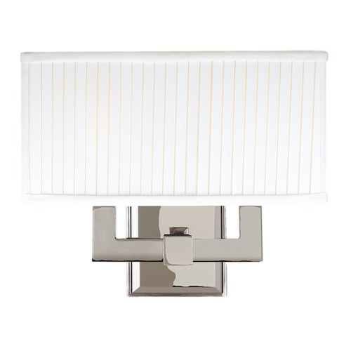 Hudson Valley Lighting Modern Sconce Wall Light with White Shades in Polished Nickel Finish 352-PN