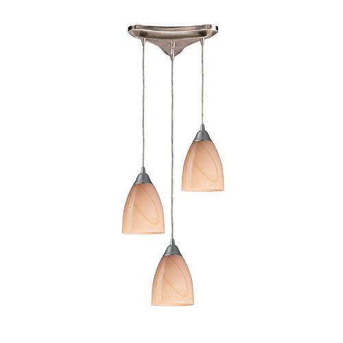 Elk Lighting Modern Multi-Light Pendant Light with Art Glass and 3-Lights 527-3SY