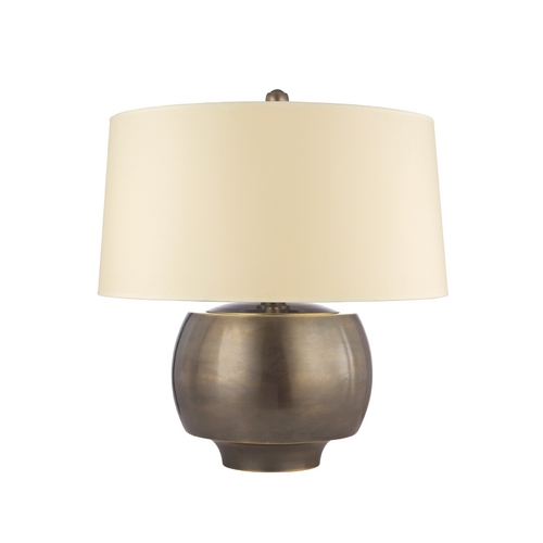 Hudson Valley Lighting Modern Table Lamp with White Shade in Distressed Bronze Finish L166-DB-WS