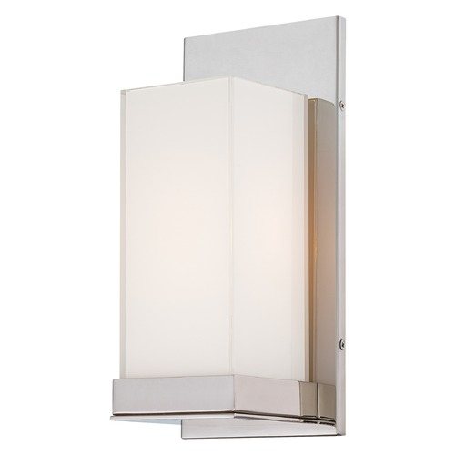 George Kovacs Lighting Modern Sconce Wall Light with White Glass in Polished Nickel Finish P1700-613