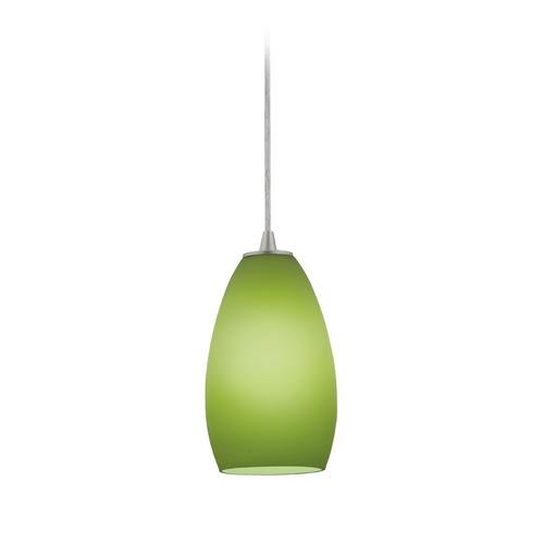 Access Lighting Modern Mini-Pendant Light with Green Glass 28012-1C-BS/LGR