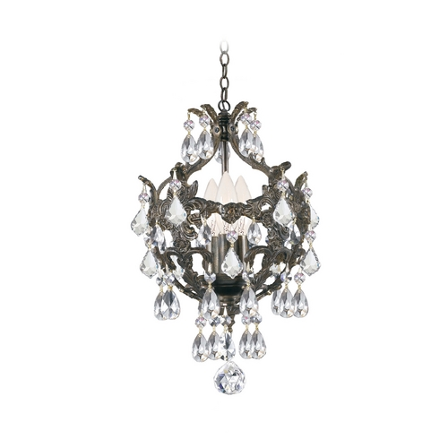 Crystorama Lighting Crystal Mini-Chandelier in English Bronze Finish 5193-EB-CL-MWP