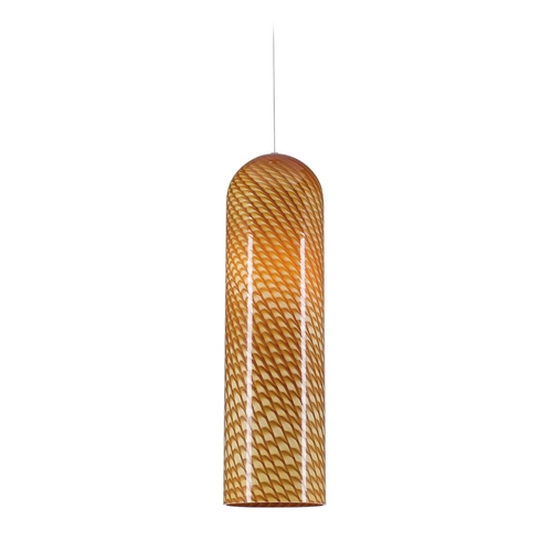 PLC Lighting Modern Mini-Pendant Light with Amber Glass 275 AMBER