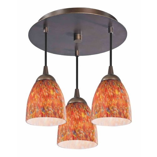 Design Classics Lighting 3-Light Semi-Flush Ceiling Light with Art Glass - Bronze Finish 579-220 GL1012MB