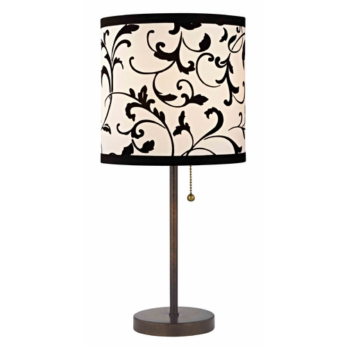 Design Classics Lighting Bronze Pull-Chain Table Lamp with Black / White Filigree Drum Shade 1900-604 SH9513