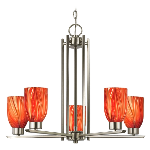 Design Classics Lighting Chandelier with Red Glass in Satin Nickel - 5-Lights 1120-1-09 GL1017D