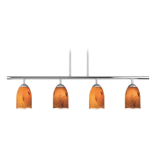Design Classics Lighting Modern Island Light with Brown Glass in Chrome Finish 718-26 GL1001D