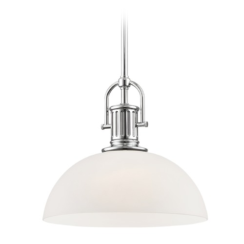 Design Classics Lighting Industrial Chrome Pendant Light with White Glass 13-Inch Wide 1764-26 G1785-WH