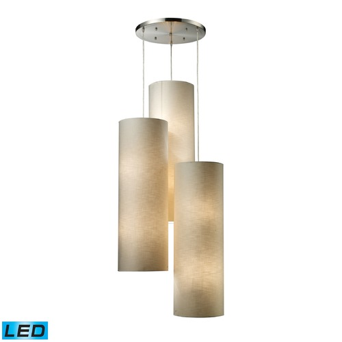 Elk Lighting Elk Lighting Fabric Cylinders Satin Nickel LED Multi-Light Pendant with Cylindrical Shade 20160/12R-LED