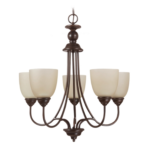 Sea Gull Lighting Sea Gull Lighting 5-Light Chandelier with Beige/Cream Glass in Burnt Sienna 31317-710