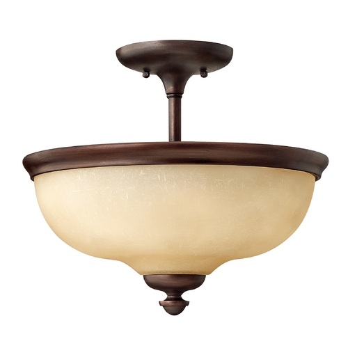Hinkley Lighting Semi-Flushmount Light with Amber Glass in Victorian Bronze Finish 4170VZ
