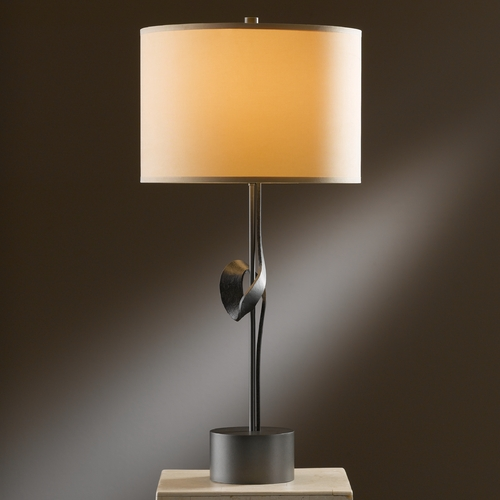 Hubbardton Forge Lighting Hubbardton Forge Lighting Gallery Dark Smoke Table Lamp with Drum Shade 272820-SKT-07-SB1198