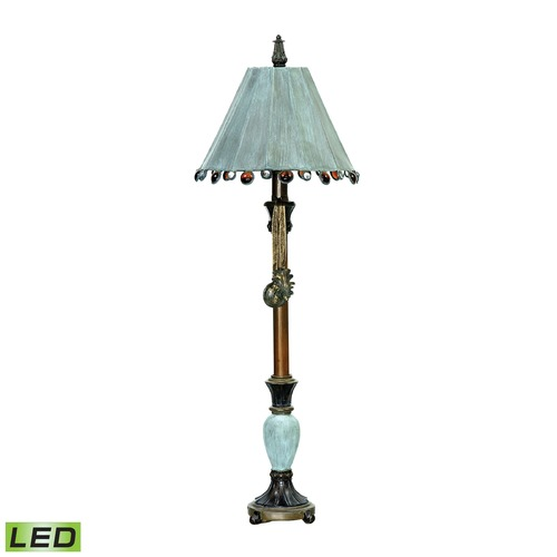 Dimond Lighting Dimond Lighting Cambridge Bronze, Blue LED Table Lamp with Coolie Shade 93-155-LED