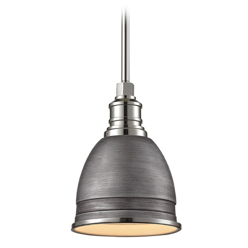 Elk Lighting Elk Lighting Carolton Weathered Zinc/polished Nickel Mini-Pendant Light with Bowl / Dome Shade 66880/1