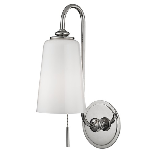 Hudson Valley Lighting Glover 1 Light Switched Pull Chain Sconce - Polished Nickel 9011-PN