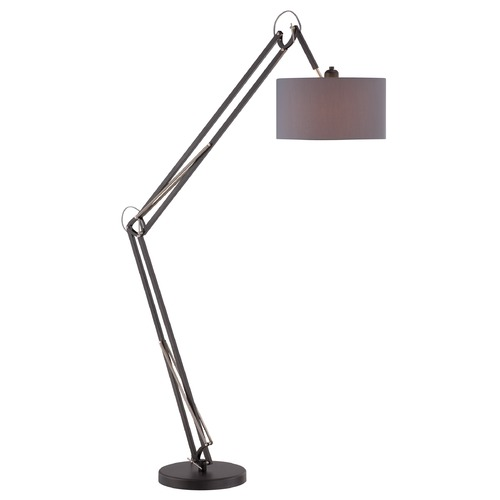 Lite Source Lighting Lite Source Black Floor Lamp with Drum Shade LS-82844BLK