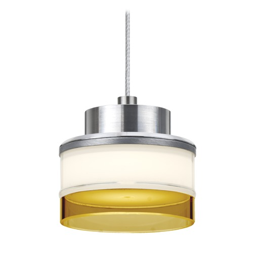 Besa Lighting Besa Lighting Pivot Satin Nickel LED Mini-Pendant Light with Drum Shade 1XT-PIVOTAM-LED-SN