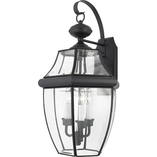 Quoizel Lighting Outdoor Wall Light with Clear Glass in Mystic Black Finish NY8318K