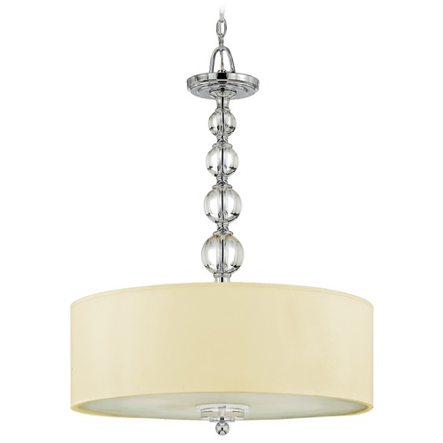 Quoizel Lighting Modern Drum Pendant Light with Cream Shade in Polished Chrome Finish DW1824C