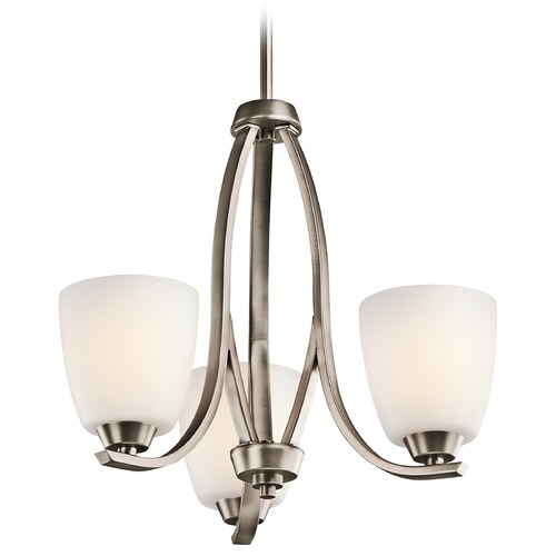 Kichler Lighting Kichler Mini-Chandelier with White Glass in Brushed Pewter Finish 42556BPT