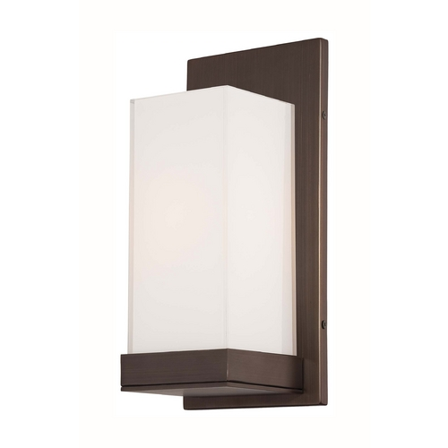 George Kovacs Lighting Modern Sconce Wall Light with White Glass in Copper Bronze Patina Finish P1700-647