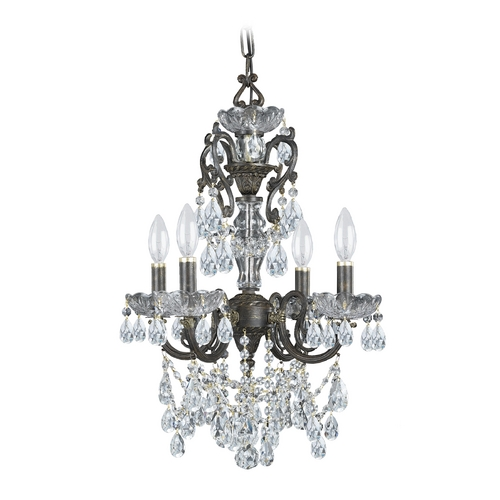 Crystorama Lighting Crystal Mini-Chandelier in English Bronze Finish 5194-EB-CL-S