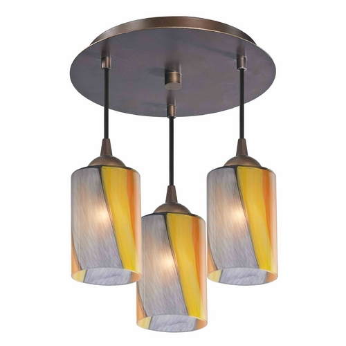Design Classics Lighting 3-Light Semi-Flush Ceiling Light with Art Glass - Bronze Finish 579-220 GL1015C
