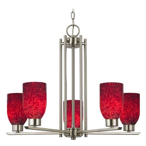 Design Classics Lighting Chandelier with Red Glass in Satin Nickel - 5-Lights 1120-1-09 GL1018D