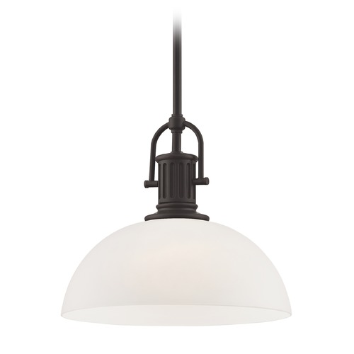 Design Classics Lighting Farmhouse Bronze Pendant Light with White Glass 13-Inch Wide 1764-220 G1785-WH
