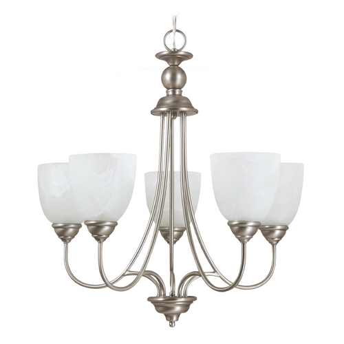 Sea Gull Lighting Chandelier with Alabaster Glass in Antique Brushed Nickel Finish 31317-965