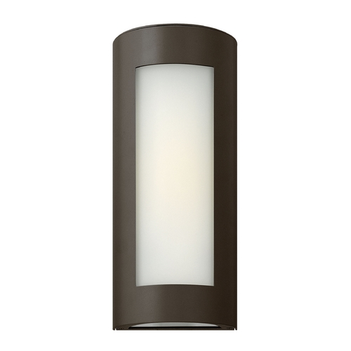 Hinkley Lighting Modern Outdoor Wall Light with White Glass in Bronze Finish 2026BZ-GU24