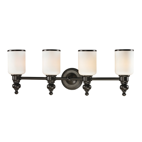 Elk Lighting Bathroom Light with White Glass in Oil Rubbed Bronze Finish 11593/4