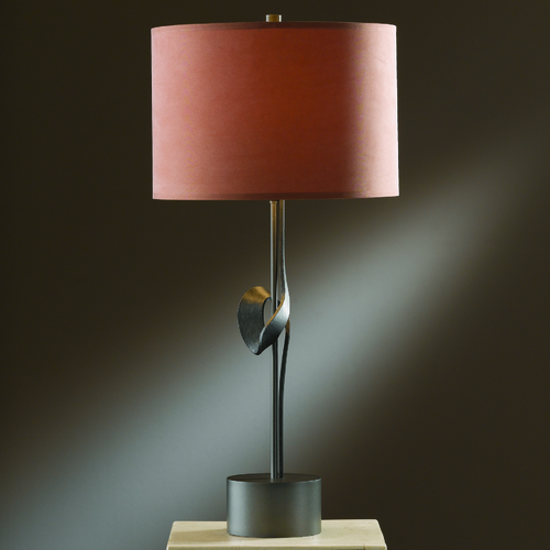 Hubbardton Forge Lighting Hubbardton Forge Lighting Gallery Dark Smoke Table Lamp with Drum Shade 272820-SKT-07-SC1198