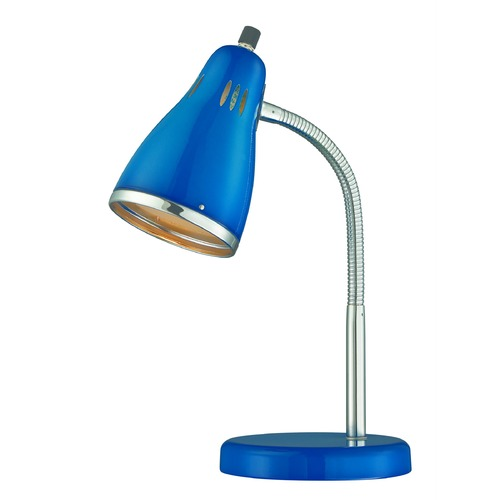 Lite Source Lighting Lite Source Kris Chrome / Blue Desk Lamp LS-22535BLU