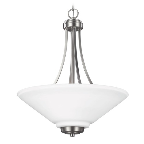 Sea Gull Lighting Sea Gull Lighting Parkfield Brushed Nickel Pendant Light with Coolie Shade 6613003-962