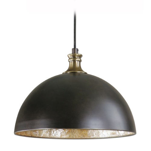 Uttermost Lighting Farmhouse Pendant Light Bronze with Brass Accents Placuna by Uttermost Lighting 22028