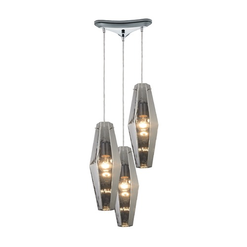 Elk Lighting Elk Lighting Pelham Polished Chrome Multi-Light Pendant with Hexagon Shade 31217/3