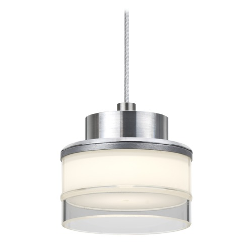 Besa Lighting Besa Lighting Pivot Satin Nickel LED Mini-Pendant Light with Drum Shade 1XT-PIVOTCL-LED-SN