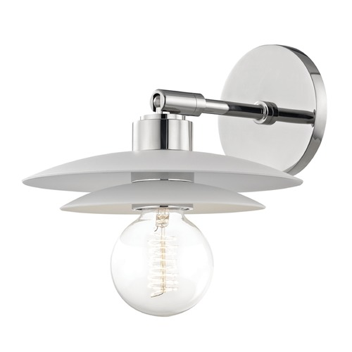 Mitzi by Hudson Valley Mid-Century Modern Sconce Polished Nickel Mitzi Milla by Hudson Valley H175101S-PN/WH