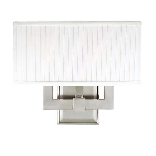 Hudson Valley Lighting Modern Sconce Wall Light with White Shades in Satin Nickel Finish 352-SN