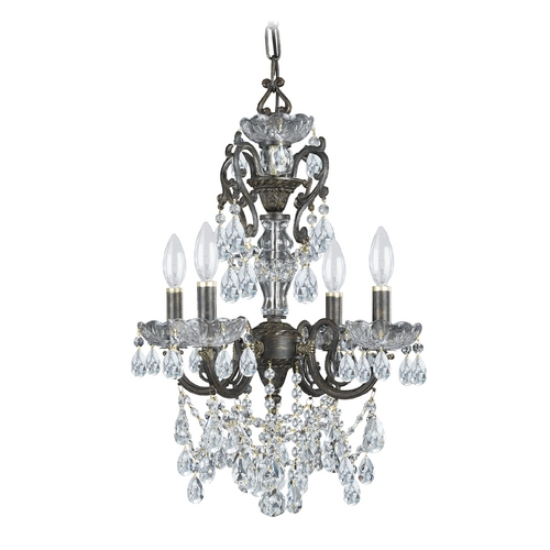 Crystorama Lighting Crystal Mini-Chandelier in English Bronze Finish 5194-EB-CL-SAQ