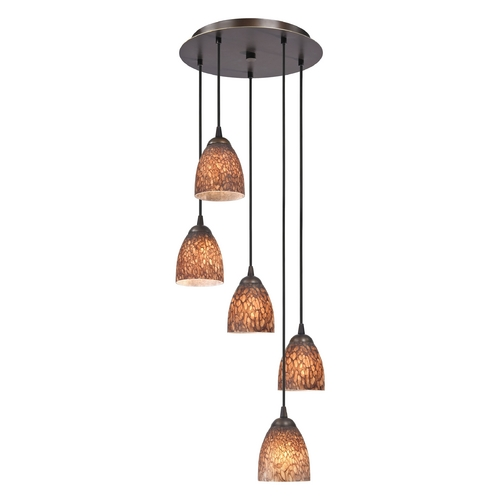Design Classics Lighting Modern Multi-Light Pendant Light with Brown Art Glass and 5-Lights 580-220 GL1016MB