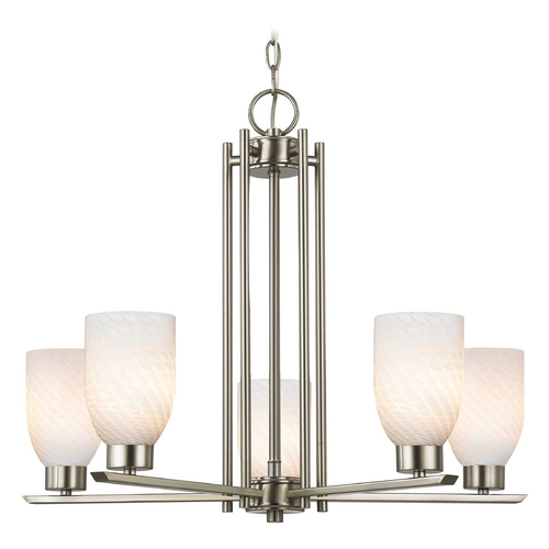Design Classics Lighting Chandelier with White Glass in Satin Nickel - 5-Lights 1120-1-09 GL1020D