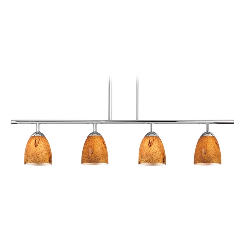 Design Classics Lighting Modern Island Light with Brown Glass in Chrome Finish 718-26 GL1001MB