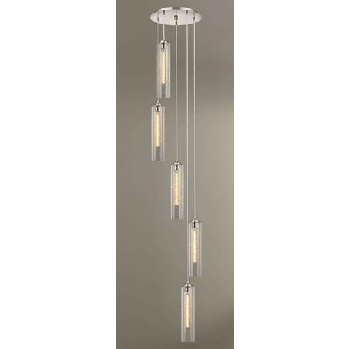 Design Classics Lighting Gala Fuse Satin Nickel Multi-Light Pendant with Cylindrical Shade 580-09 GL1641C