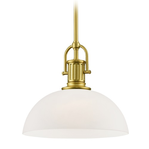 Design Classics Lighting Industrial Satin Brass Pendant Light with White Glass 13-Inch Wide 1764-12 G1785-WH